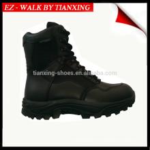 Bottes de combat en cuir noir imperméable léger