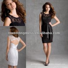 HB2038 aplicação de renda preta capa manga faixa de fita fechadura traseira bainha comprimento do joelho vestido de festa vestidos de dama de honra pescoço pescoço