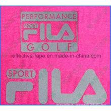 Logotipo reflectante plateado, logotipo reflectante de transferencia de calor para ropa