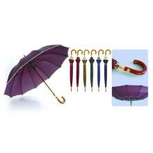 12 Ribs Automatic Fiberglass Windproof Edge Wooden Umbrella (YS-25123516R)