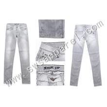 Custom Fashion Design Lady Skinny Slim Straight Fit Jeans Trousers