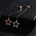 Simples Long Rose Gold Star Dangle Brincos