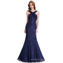Kate Kasin Halter Deep V-Back Pleated Long Lace Spandex Navy Blue Evening Prom Party Dress 8 Size US 2~16 KK000118-1