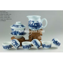 """Chinese Kids Playing"" Blue & White Porcelain Teaware Set, 1 Gaiwan, 1 Pitcher & 6 Cups"