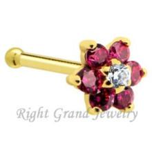 Único banhado a ouro anéis de nariz piercing zircão prong definir anel de nariz de flor de ouro