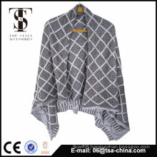 100% acrylic warm knit fashion poncho shawl for lady                                                                         Quality Choice
