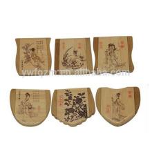 atacado fábrica mais novo design de madeira mini espelhos de bolso decorativos