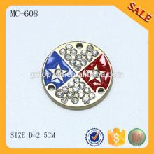 MC608 Moda de forma redonda cristal vestuário tag metal