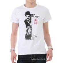 Sérigraphie de mode Blanc Personnalisé Coton Chaud En Gros D'été Hommes T-shirt