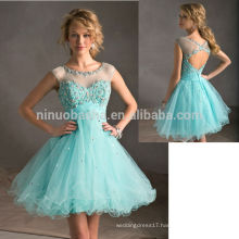 2014 Hot Sale Light Blue Short Tulle Made Homecoming Dress Sheer Neck Cap Sleeve Open Back A-Line Prom Gown With Crystal NB0846
