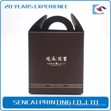 SenCai élégant boîte-cadeau marron avec poignée en arc et estampage feuille d'argent