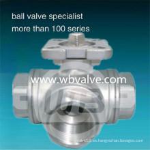 Válvula de bola de 3 vías de acero inoxidable de L / T 1000wog