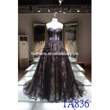 Broderie ployester robe de mariée en mariée 2016 sexy noir hors épaule arrière dentelle longue traînée robe de soirée robe de soirée