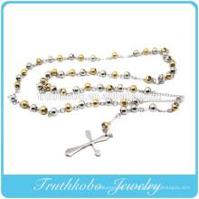 Moda Beckham Jesus Cross Dos tonos 6 mm chapado en oro y cuentas de acero Rosario Collar de acero inoxidable colgante