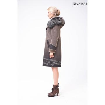 Wanita Medium Australian Merino Shearling Thick Coat