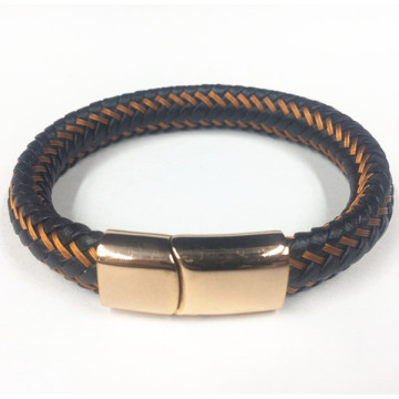 Wire Leather Rope Rose Gold Magnetic Clasp Armband