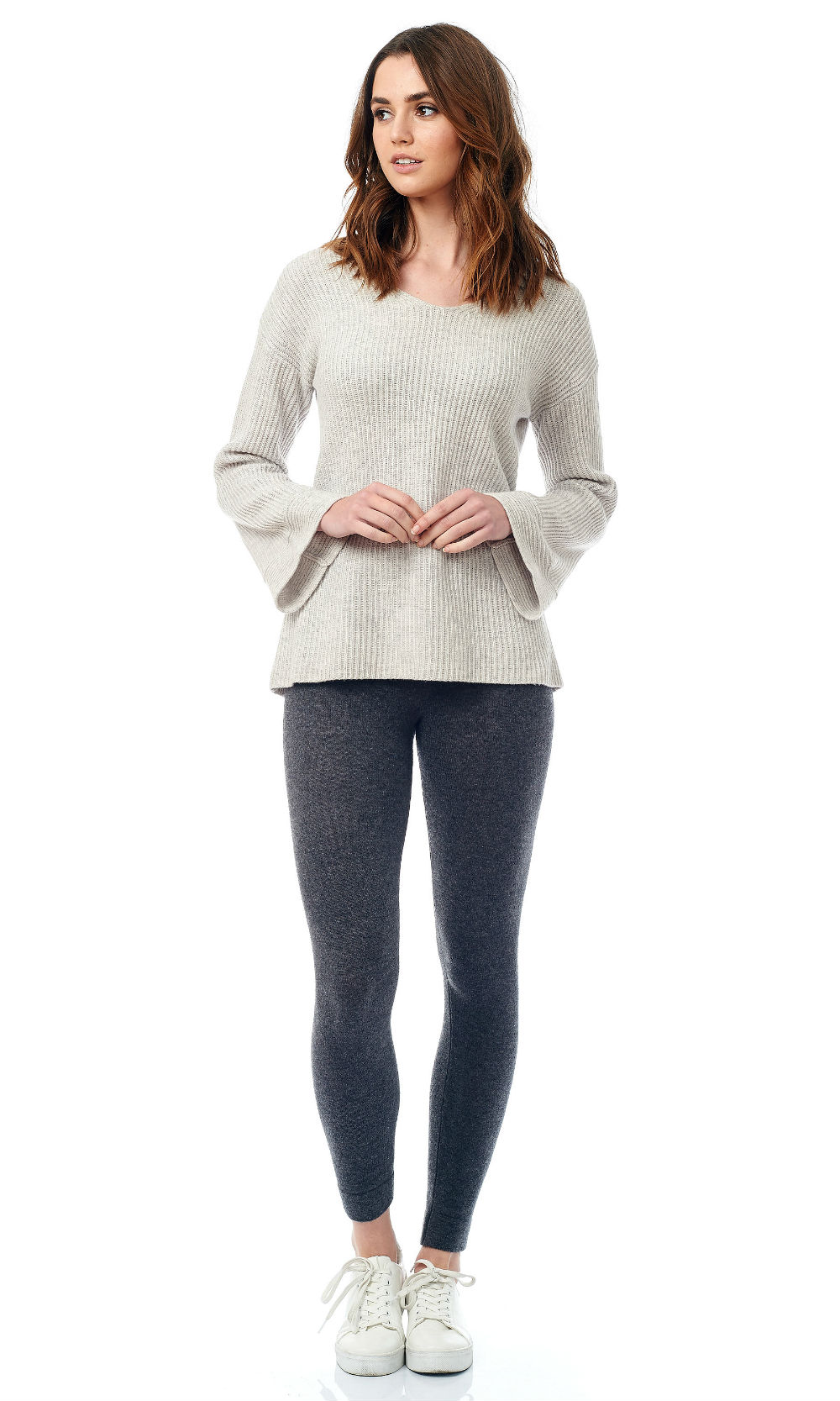 Ribbed Bell Sleeve V Neck Sweater