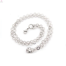 Chaîne de collier en métal en vrac belle, chaînes de boule en métal argentées brillantes pour des chaînes de cou