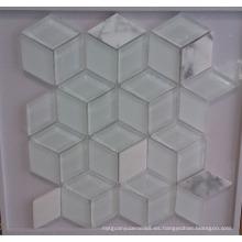 Azulejo de mosaico de vidrio blanco Rhombus (HGM379)