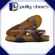 Brown Leather Slides Comfort Sandals Size 42 Men′s Sandal