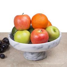 """Tazón de fruta de mármol de 10 """"x 10"""" en pedestal"""