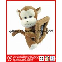 Lindo marco de foto de juguete de mono felpa suave