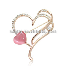 Gold brooch luxury large heart shape jewelry findings pink opal rhinestone crystal brooches
