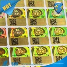 Autêntico holograma personalizado adesivos 3d / código QR holograma / etiqueta holográfica de segurança
