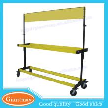 suporte de rack de pneu de metal amarelo de piso móvel