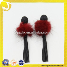 China Supplier Wedding Dresses red pompom Earring