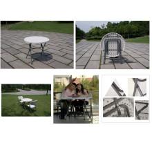 Выдувная форма HDPE Пластиковая дешевая оптовая мини-круглая складная таблица / рекламный портативный отель Банкетный столик Прочный складной стол
