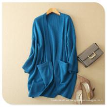 Abrigo de punto con chal de cashmere puro de mujer con parte inferior y bolsillos redondos