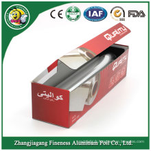 Petit pain de papier d'aluminium de ménage avec la boîte de couleur de paquet de papier
