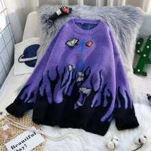 Вязать свитер бабочка мода вышивка патчи женщин