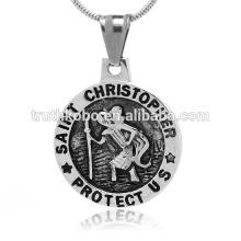 Conjunto preto jóias religiosas de aço inoxidável pingente de jesus Chinês importações por atacado