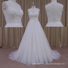 Vestido de boda del cordón del vintage de la manga del casquillo del tamaño personalizado