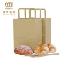 Sacos de portador lisos feitos-à-medida do pão do alimento do papel de embalagem de Brown das compras na mercearia