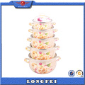 Full Flower Design 5PCS Enamel Coating Casserole Pot