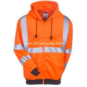 High-Visibility Orange Fleece Hooded Sweatshirt