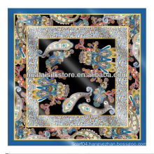 NO MOQ custom made silk scarves in digital printed