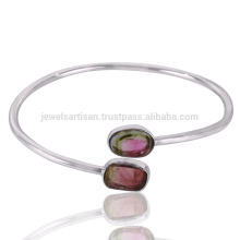 2017 Hot Sale Beautiful Tourmaline Slice Gemstone 925 Sterling Silver Bangle