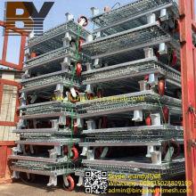 Contenedor de almacenamiento doblado plegable de la jaula de malla de alambre de acero
