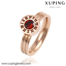 13891 Fashion Fancy CZ Round Goldr-Plated Stainless Steel Jewelry Finger Ring for Women
