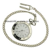 Reloj de bolsillo de plata de la calidad de los hombres con la cadena