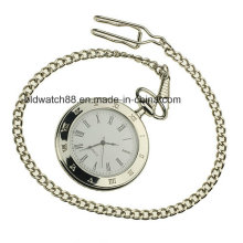 Relógio de bolso de prata de qualidade com corrente