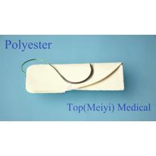 Хирургический шов с иглой - полиэфирный плетеный хирургический шов