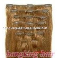 Qualidade superior do cabelo brasileiro virgem de 100% nenhum pedido mínimo barato 100% grampo de cabelo humano na extensão do cabelo