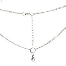 Moda sunisex presente de aço inoxidável tecido colar com correntes, colares medalhão de ouro branco