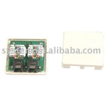 cat.5e p.c.b.dual port surface mount box