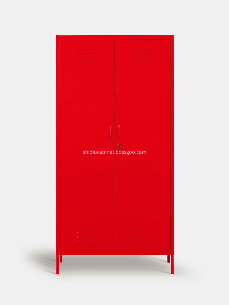 Red 2 Door Armoire Clothes Wardrobe Storage Cabinet